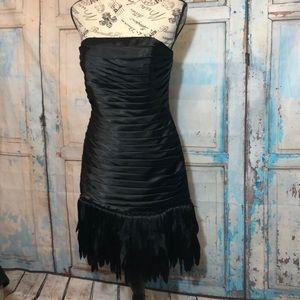 NWT WHBM Fringed Strapless Cocktail Dress Black